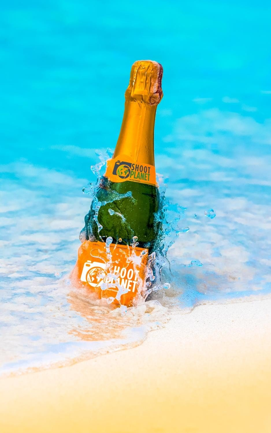Champagne bottle in turquoise Caribbean Sea, Colombia
