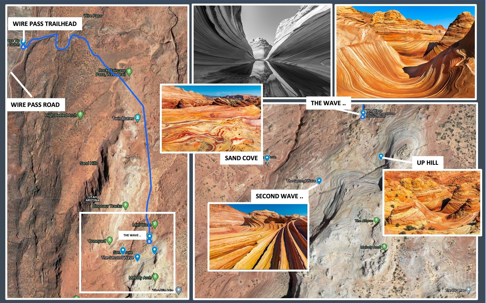 The Wave North Coyote buttes trail map