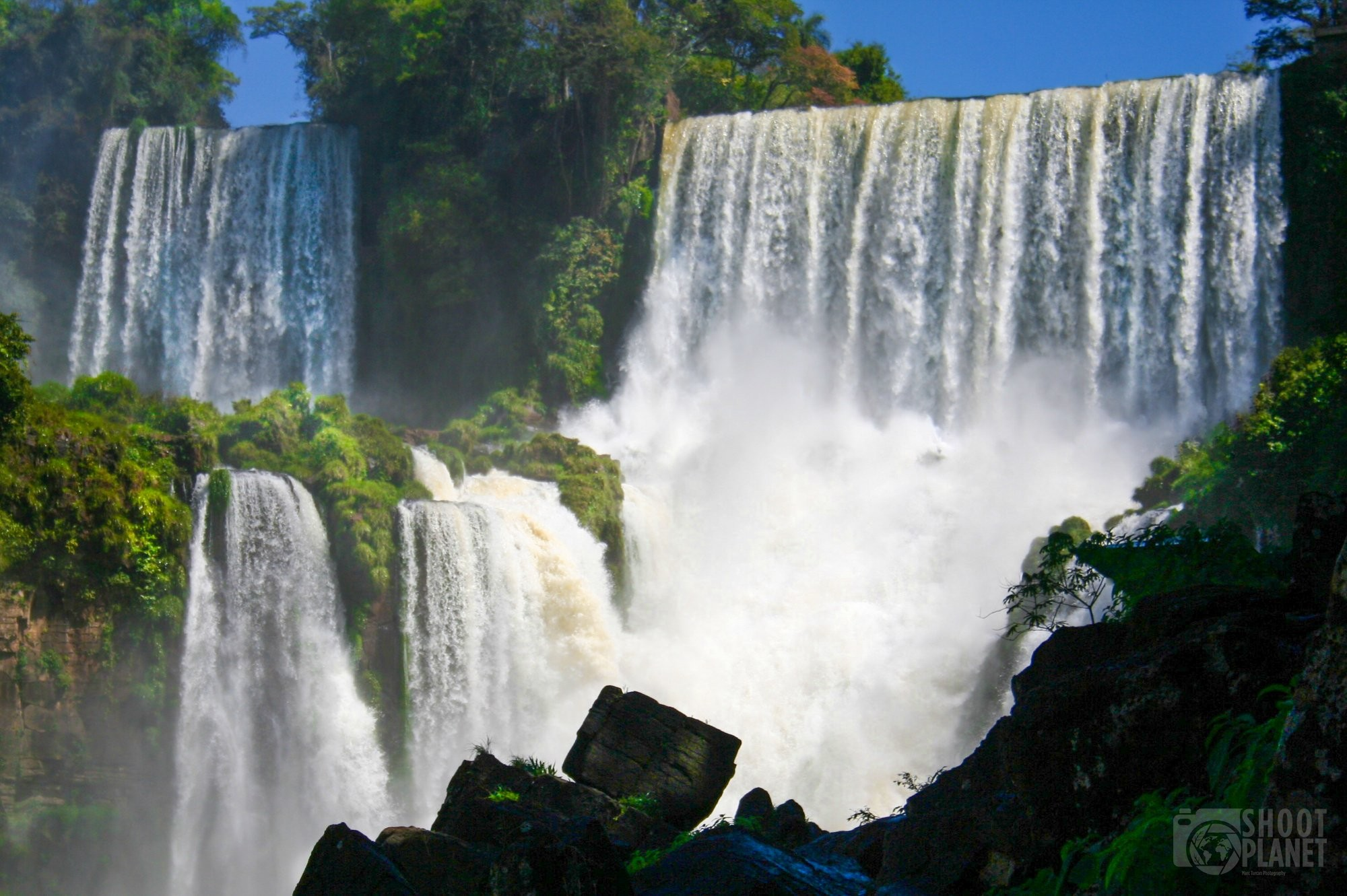 Iguazu falls cataracts and wet rocks, Brazil