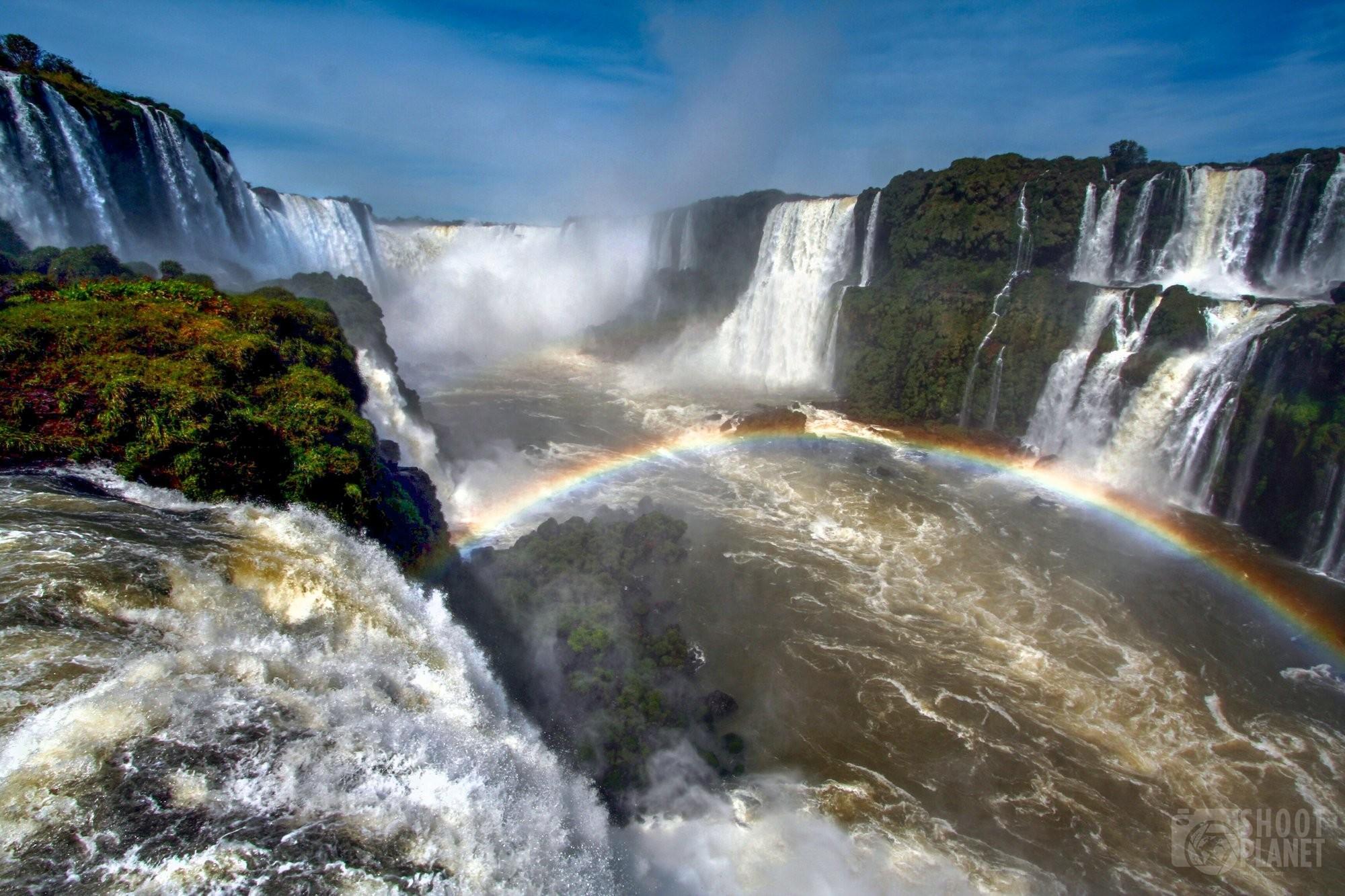 Iguazu Falls cataracts and rainbow, Brazil