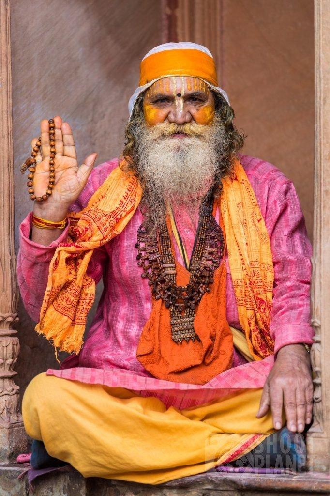 Hindu Sadhu holy man seated, Mathura India