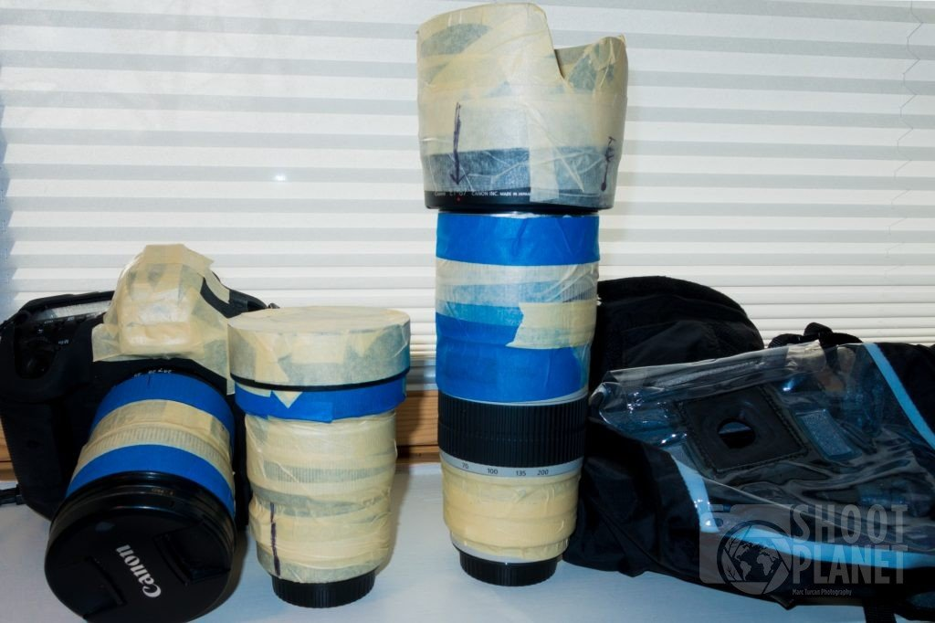 Camera and lenses protected by tape