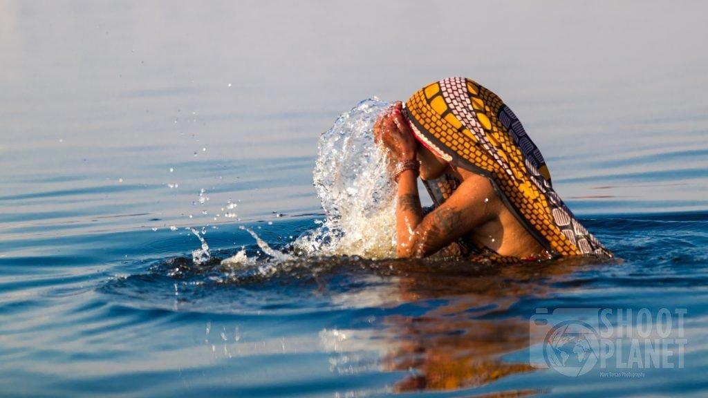 Woman purification bath, Mathura India