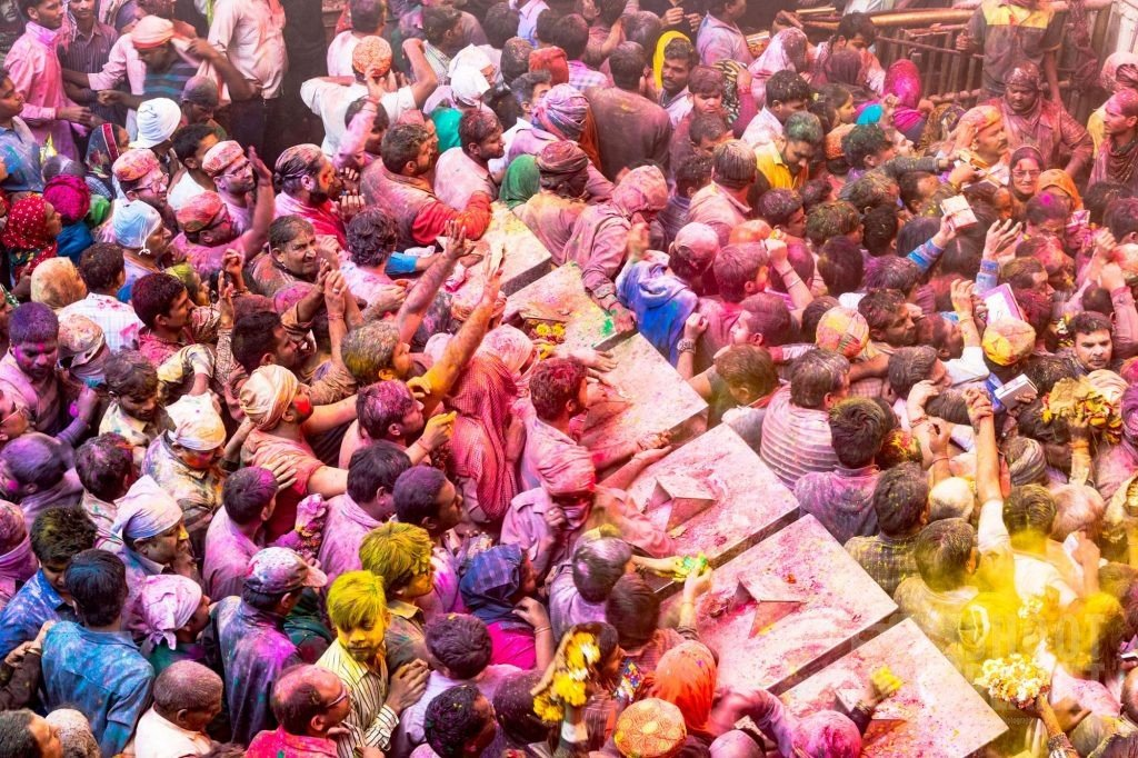 Holi crowd, banke Bihary Temple, Vrindavan India