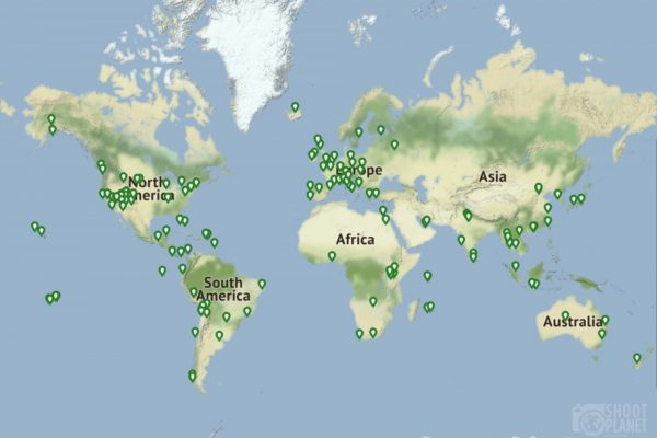 Global map displaying Shoot Planet galleries locations