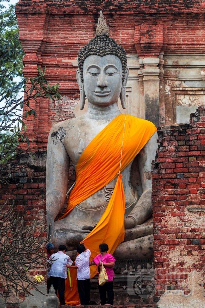 Huge Buddha statue in Ayutthaya temple, Thailand