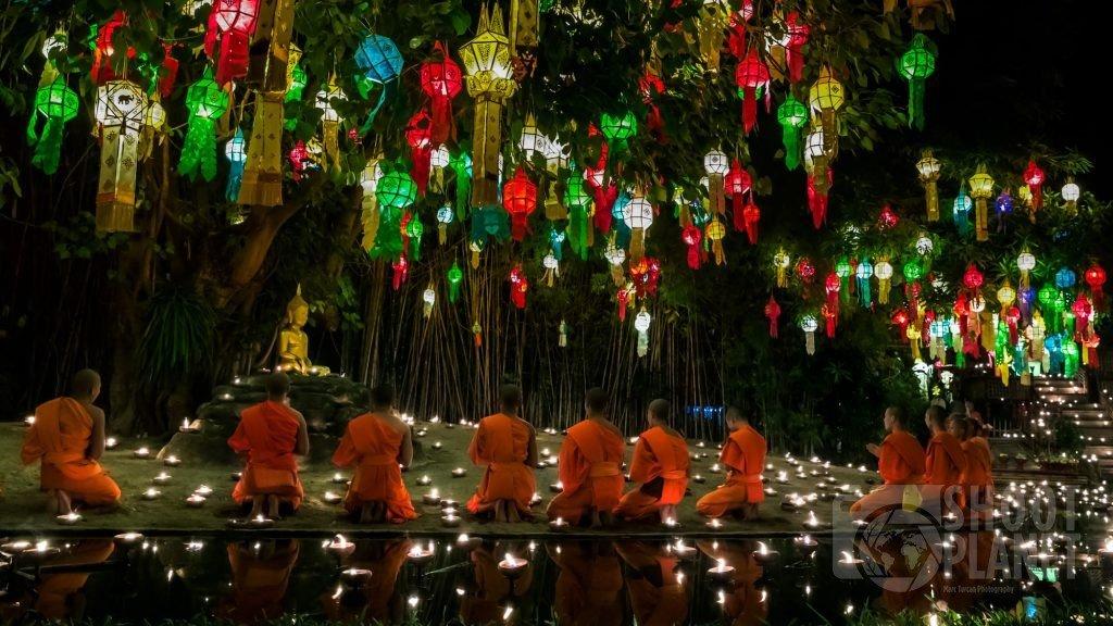 Monks praying, Yee Peng Chiang Mai, Thailand