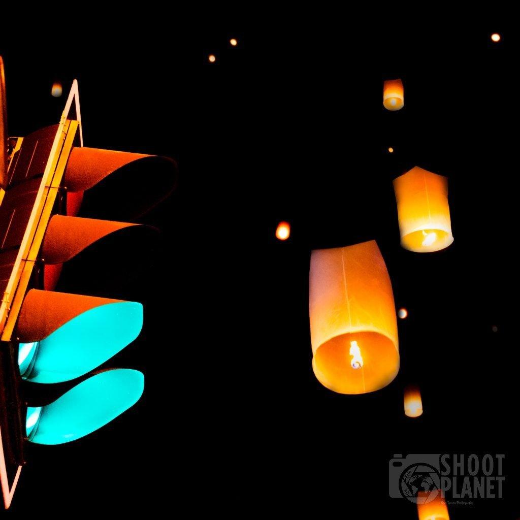 Yee Peng lantern and traffic light, Thailand