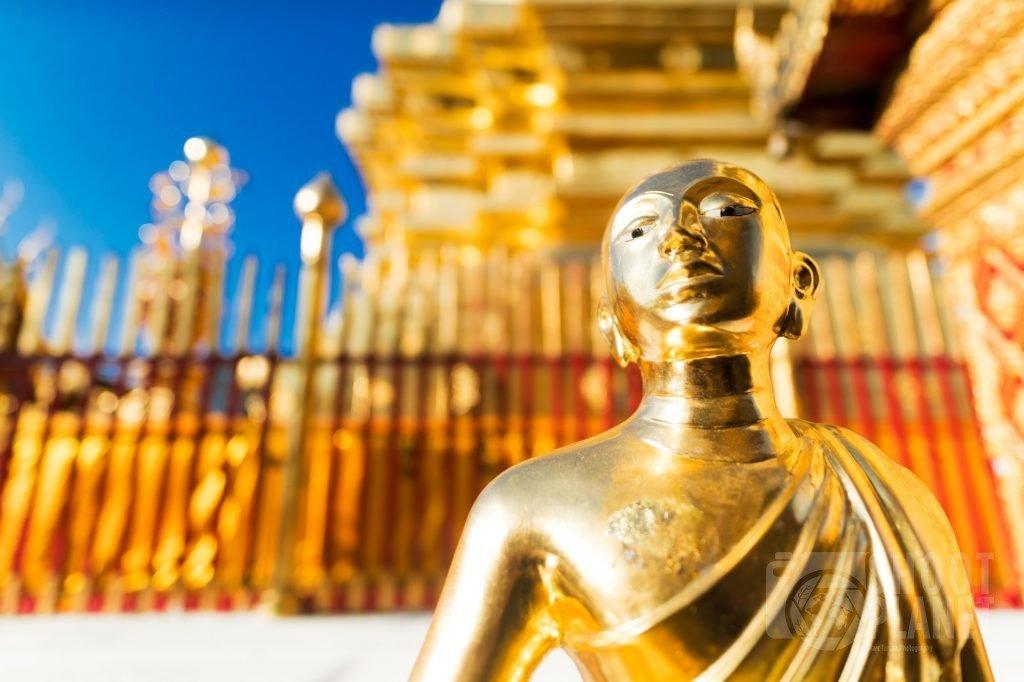 Gold Buddha statue, Doi Suthep temple, Thailand