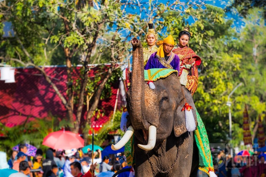 Prince and princess on an elephant, Sukhothai, Thailand