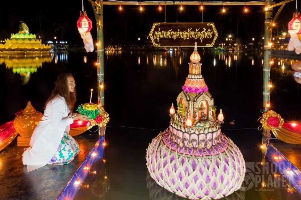 Thai woman celebrating Loy Krathong, Sukhothai Thailand