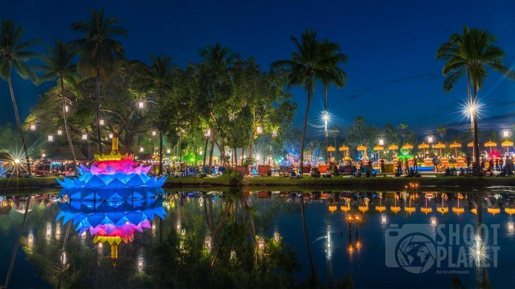 Loy Krathong lights on a pond