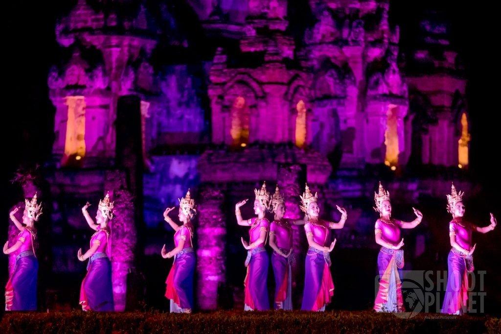 Loy Krathong show in Sukhothai temple Thailand