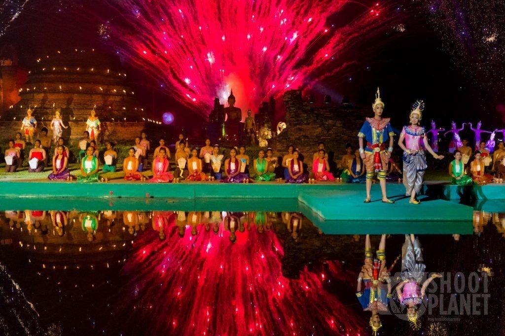 Loy Krathong show fireworks , Sukhothai temple Thailand