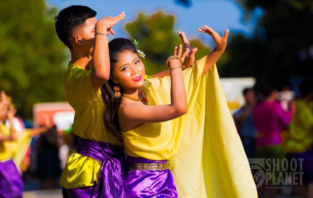 Traditional Thai dance couple in Sukhothai Thailand