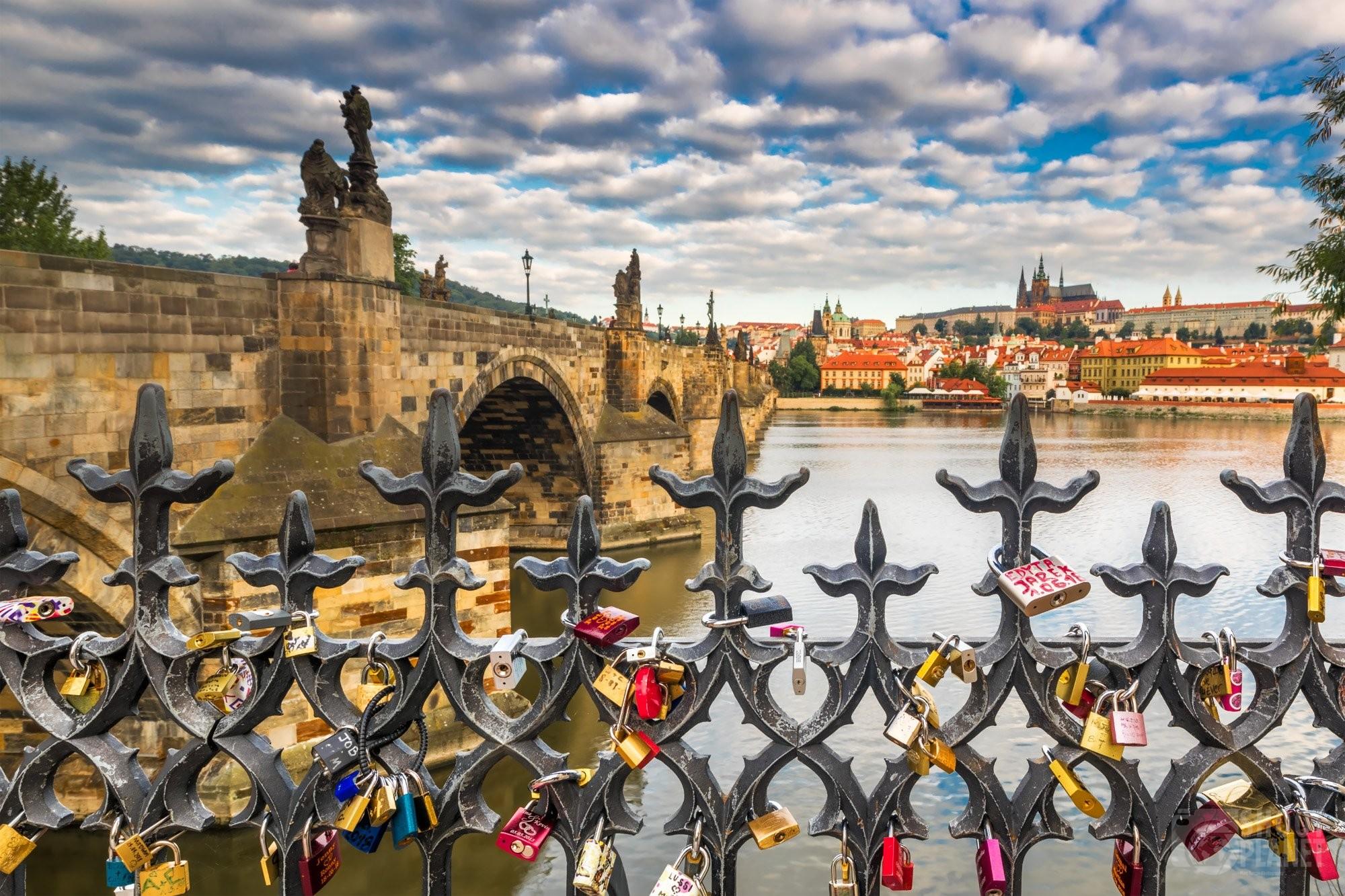 Prague Charles Bridge love padlocks, Czech Republic