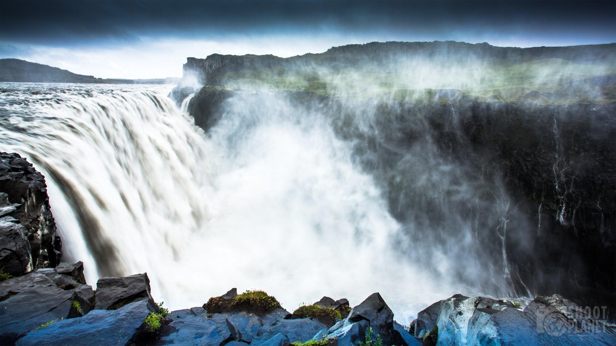Dettifoss cascade and rocks Iceland