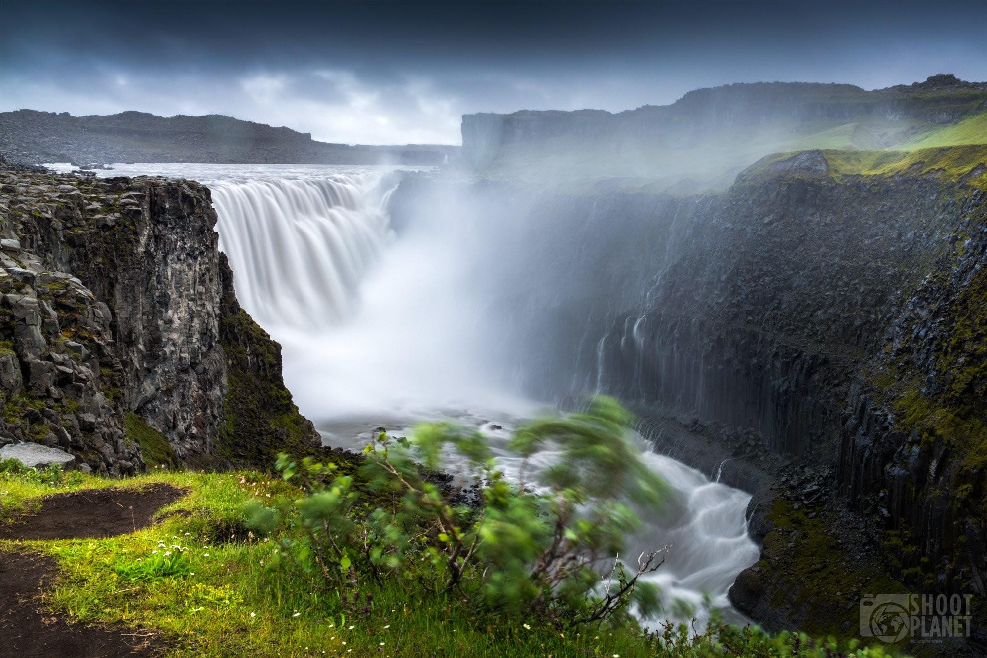 Dettifoss cascade under a storm, Northeast Iceland