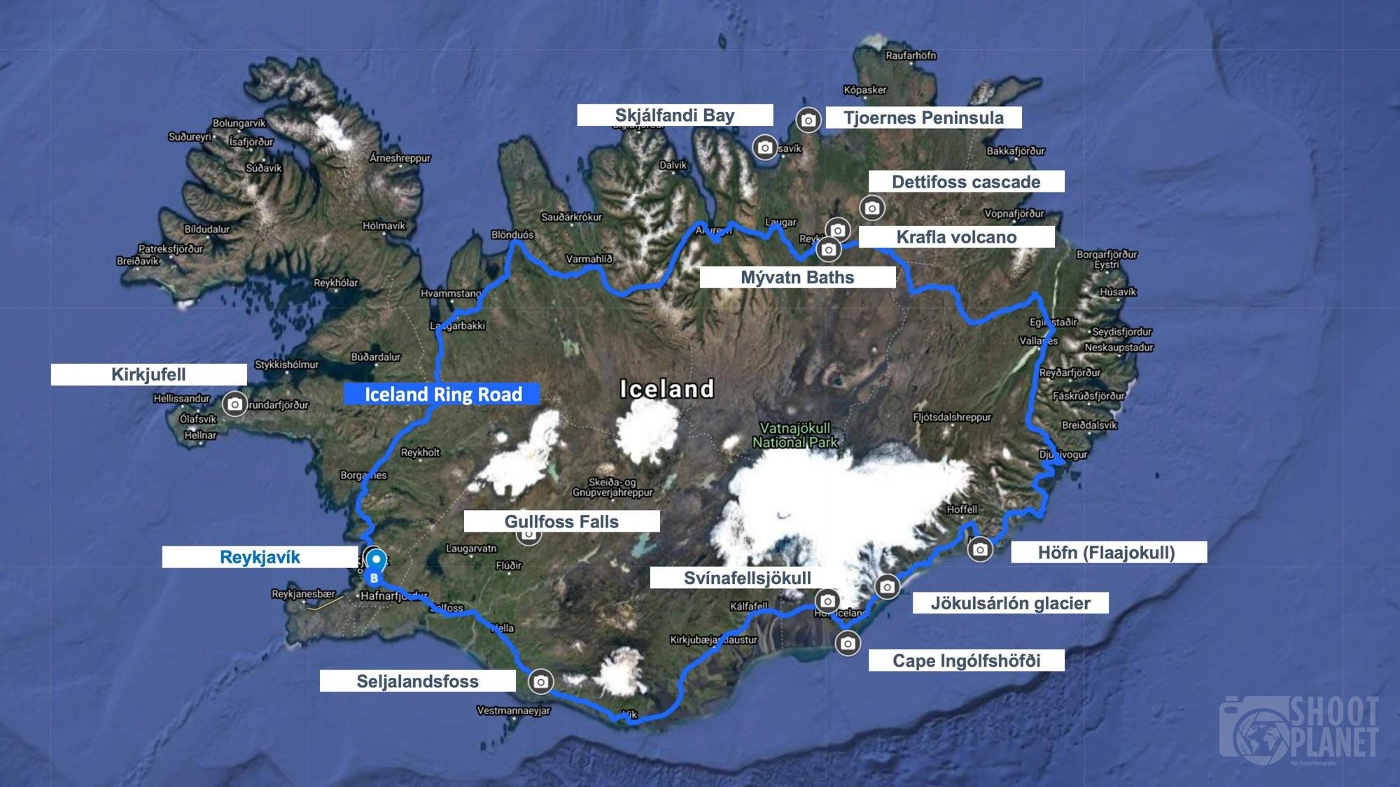 iceland landmarks map