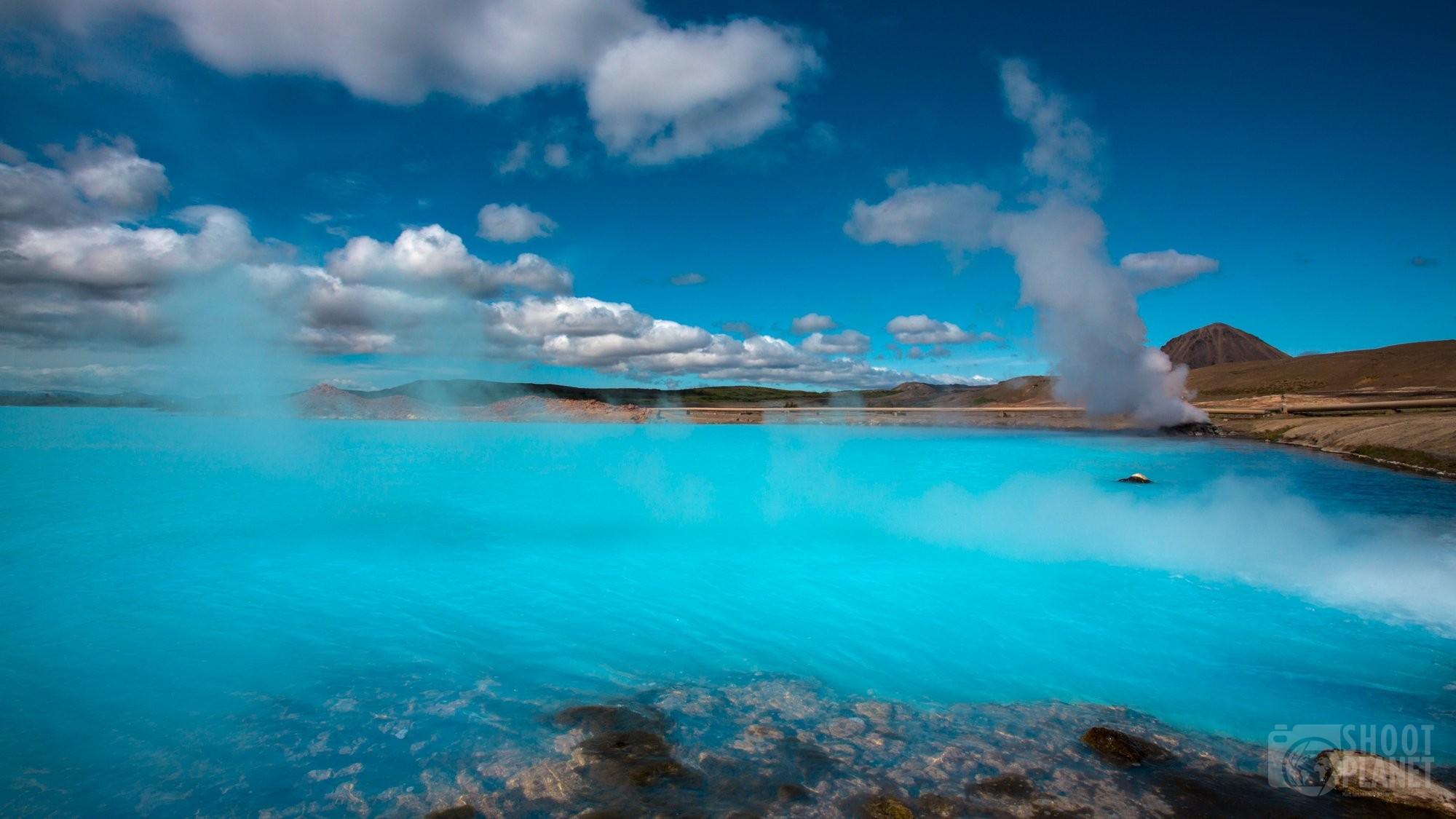 Hot turquoise Myvatn lake in Iceland
