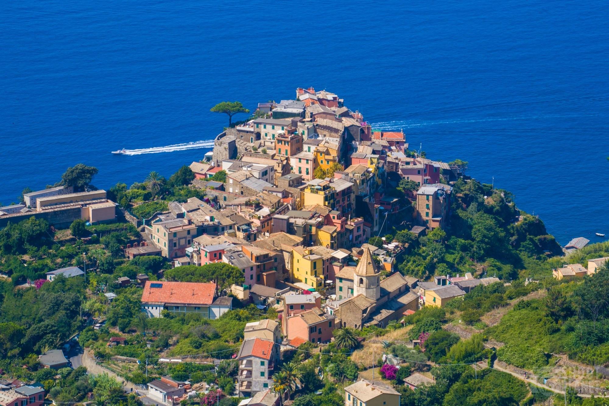 Corniglia aerial view in Cinque Terre Italy