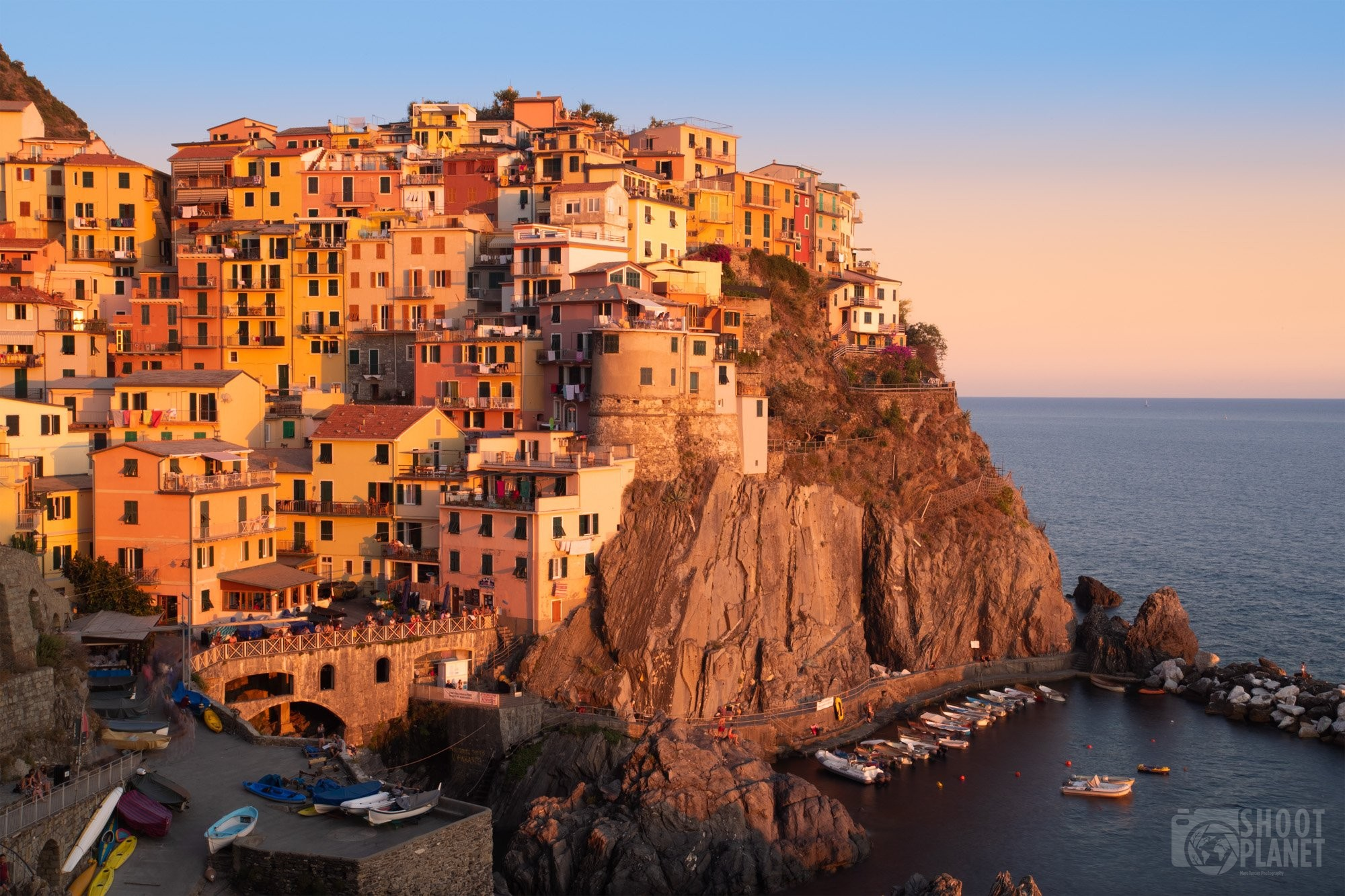 Manarola golden light in Cinque Terre Italy