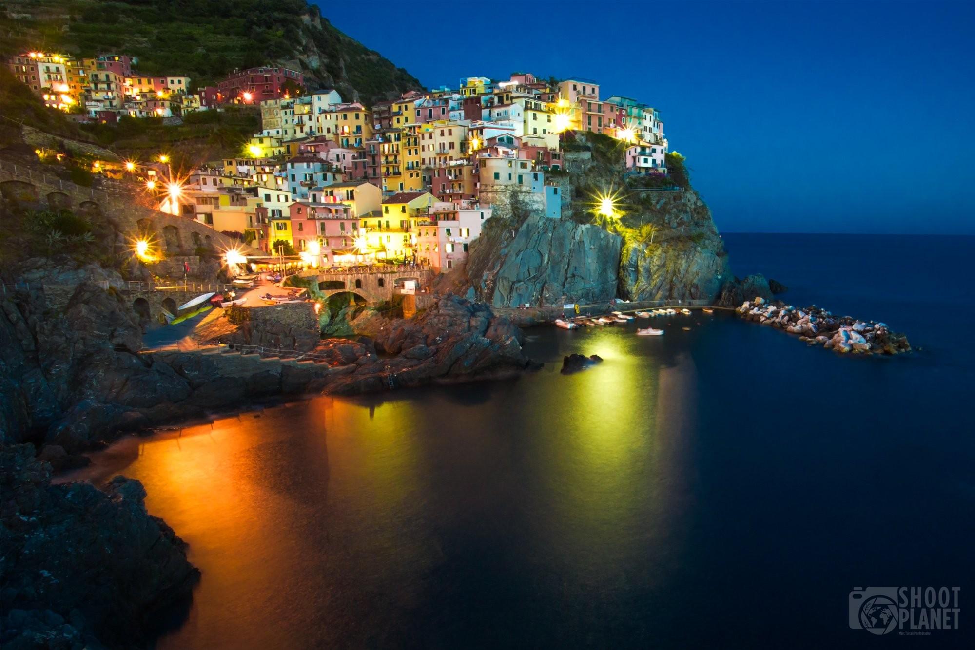 Manarola village twilight in Cinque Terre Italy