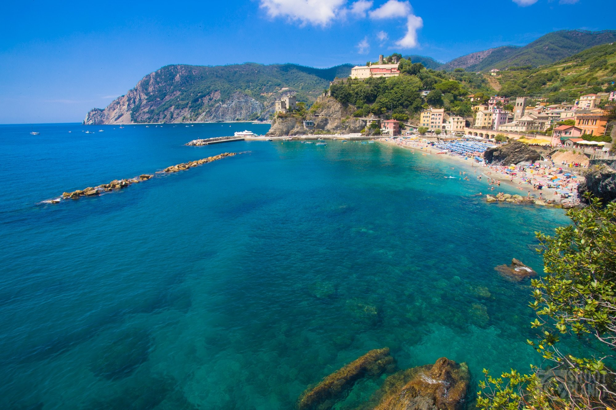 Monterosso aerial view in Cinque Terre Italy