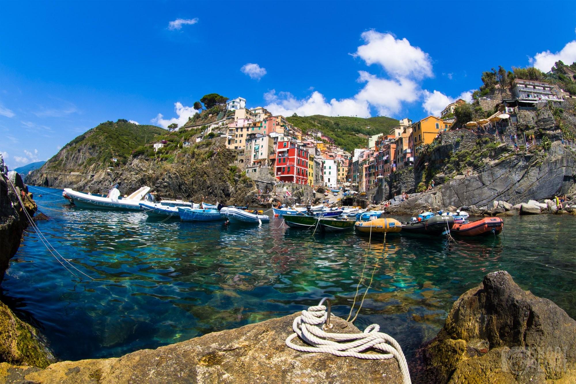 Riomaggiore village harbor in Cinque Terre Italy