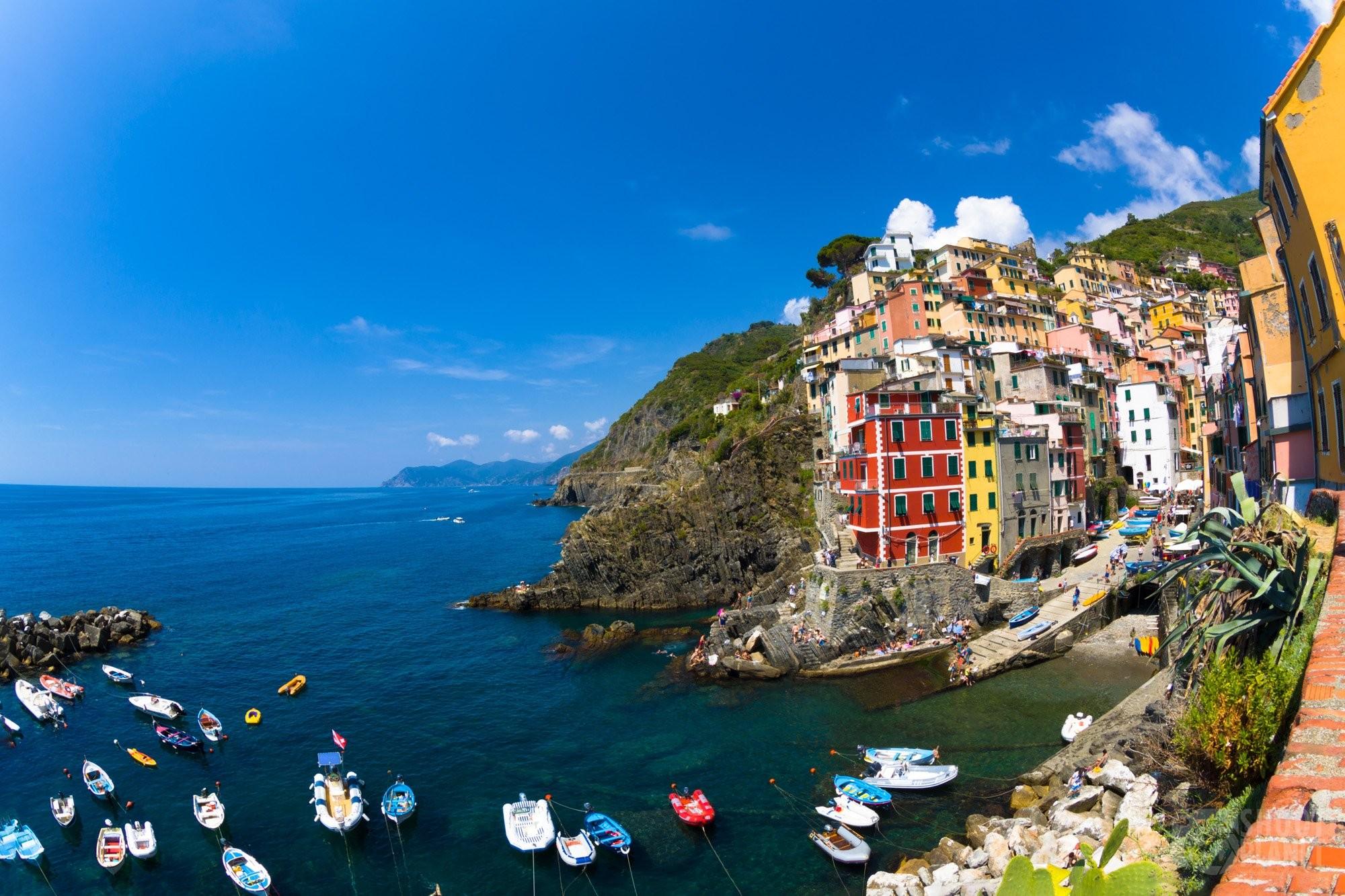 Riomaggiore village in Cinque Terre Italy