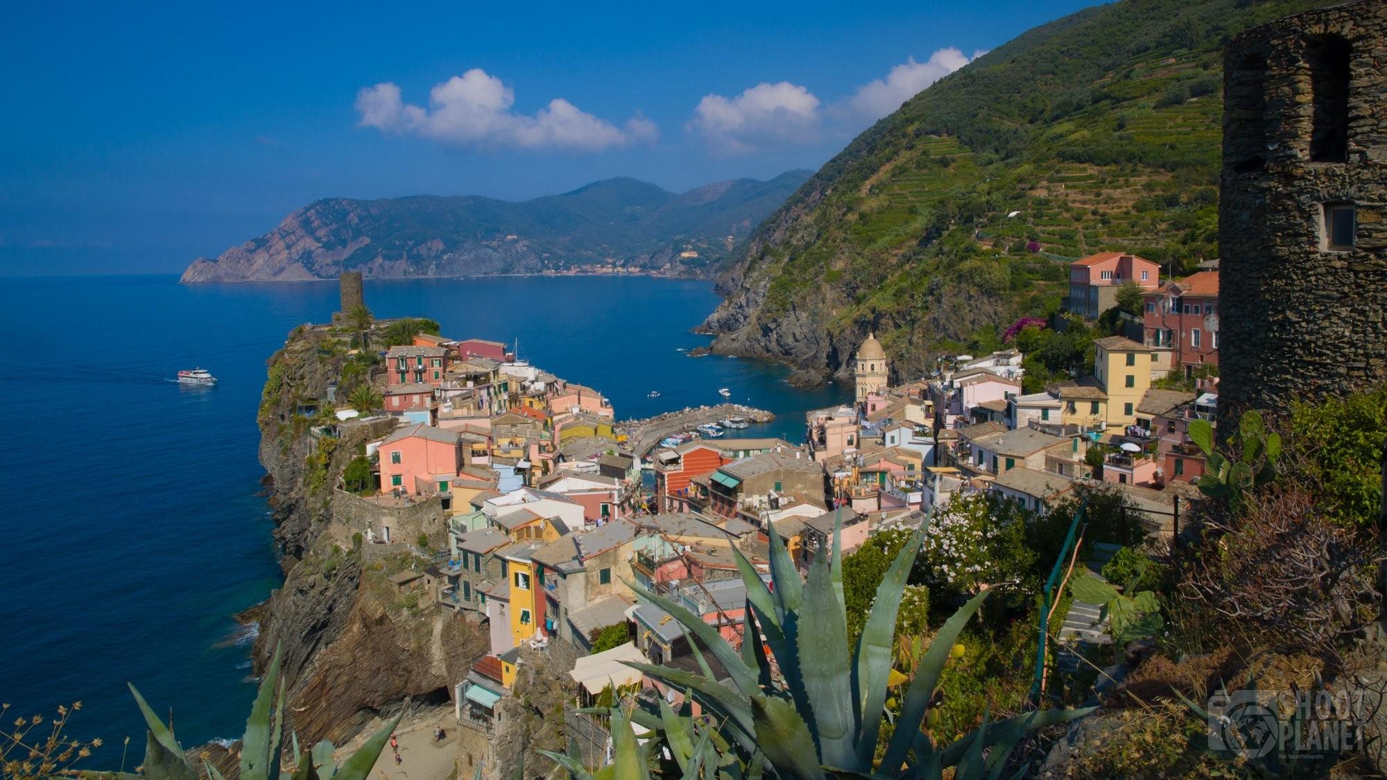 Landmark Vernazza aerial view in Cinque Terre Italy