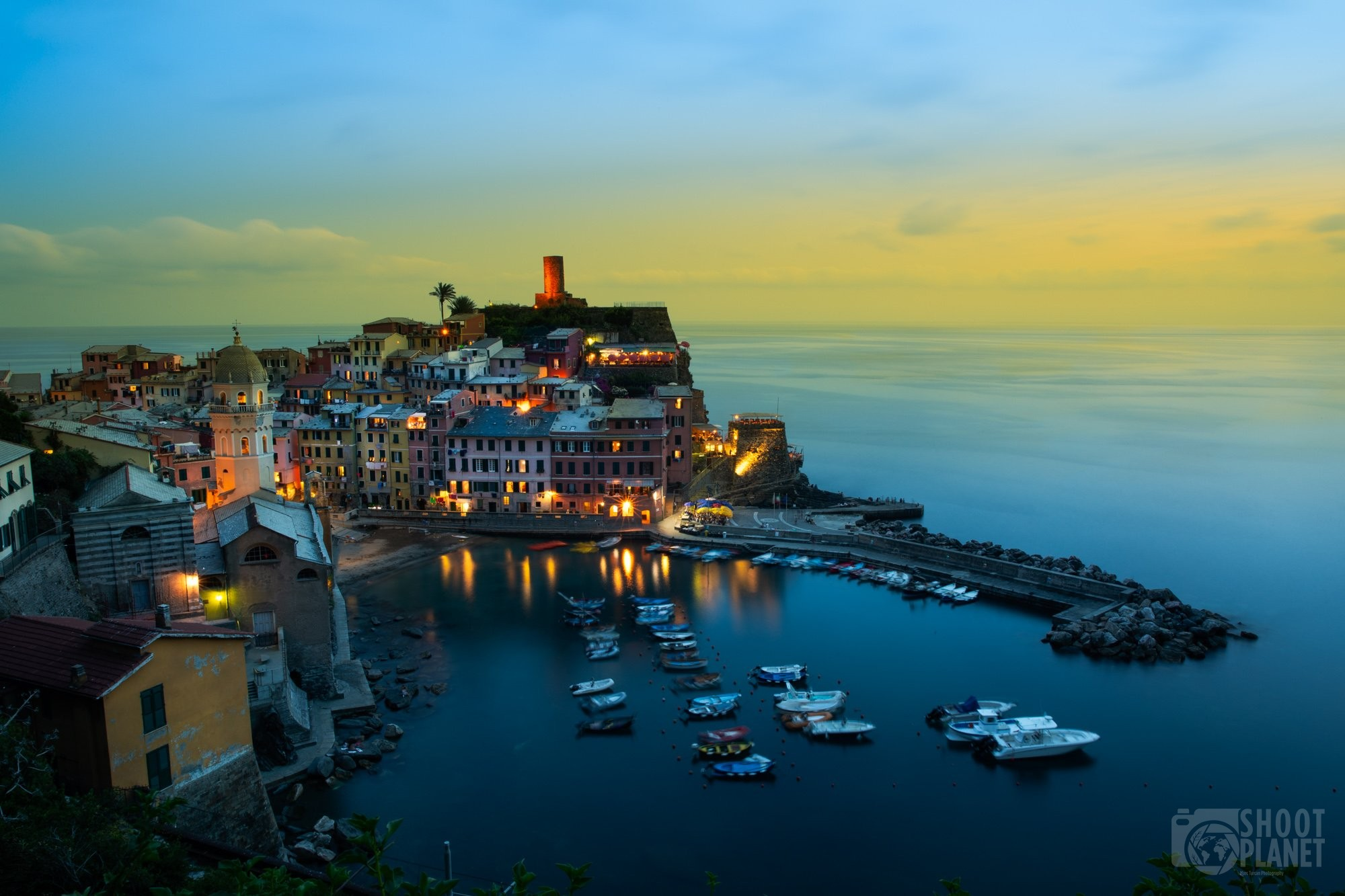 Vernazza sunset in Cinque Terre Italy