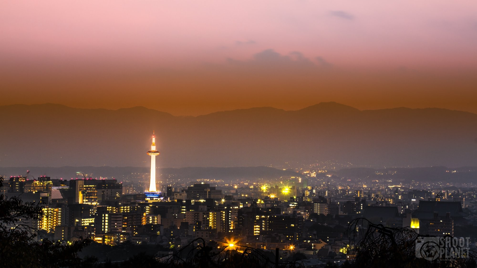 Sunset on Kyoto tower in Japan