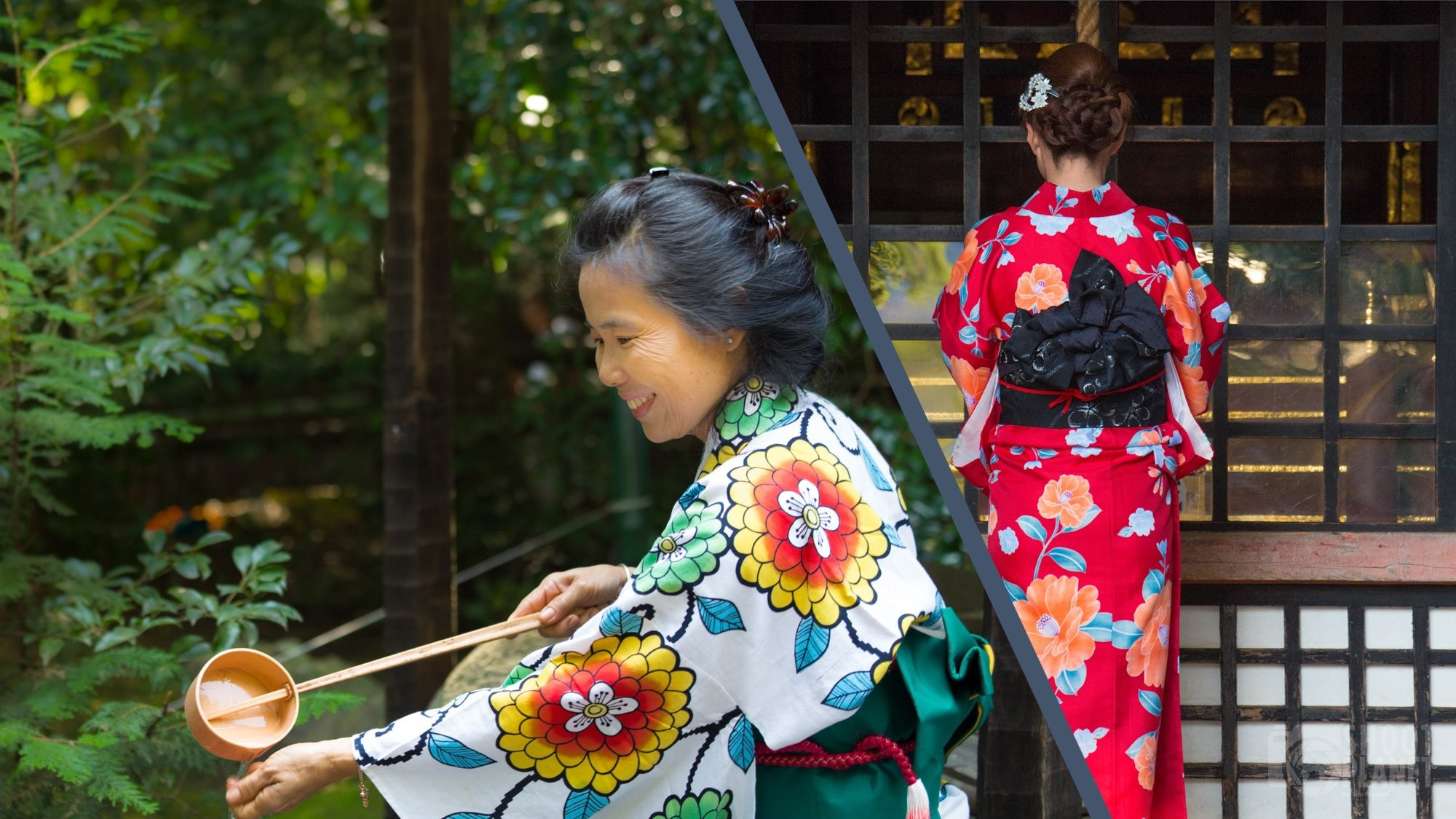 Japanese women in traditional dresses