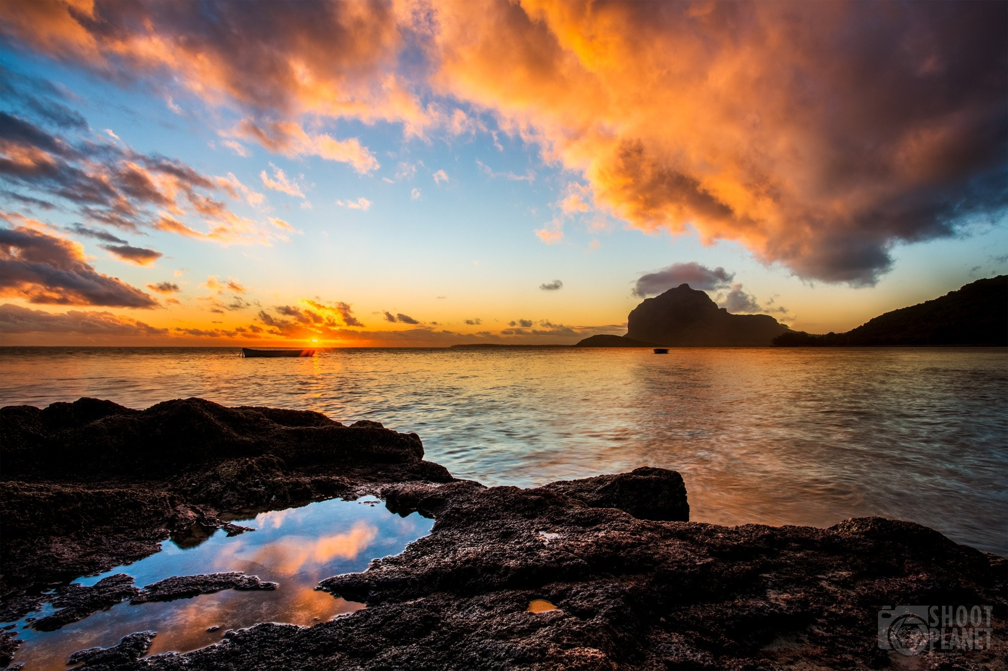 Morne Brabant mountain sunset reflections, Mauritius