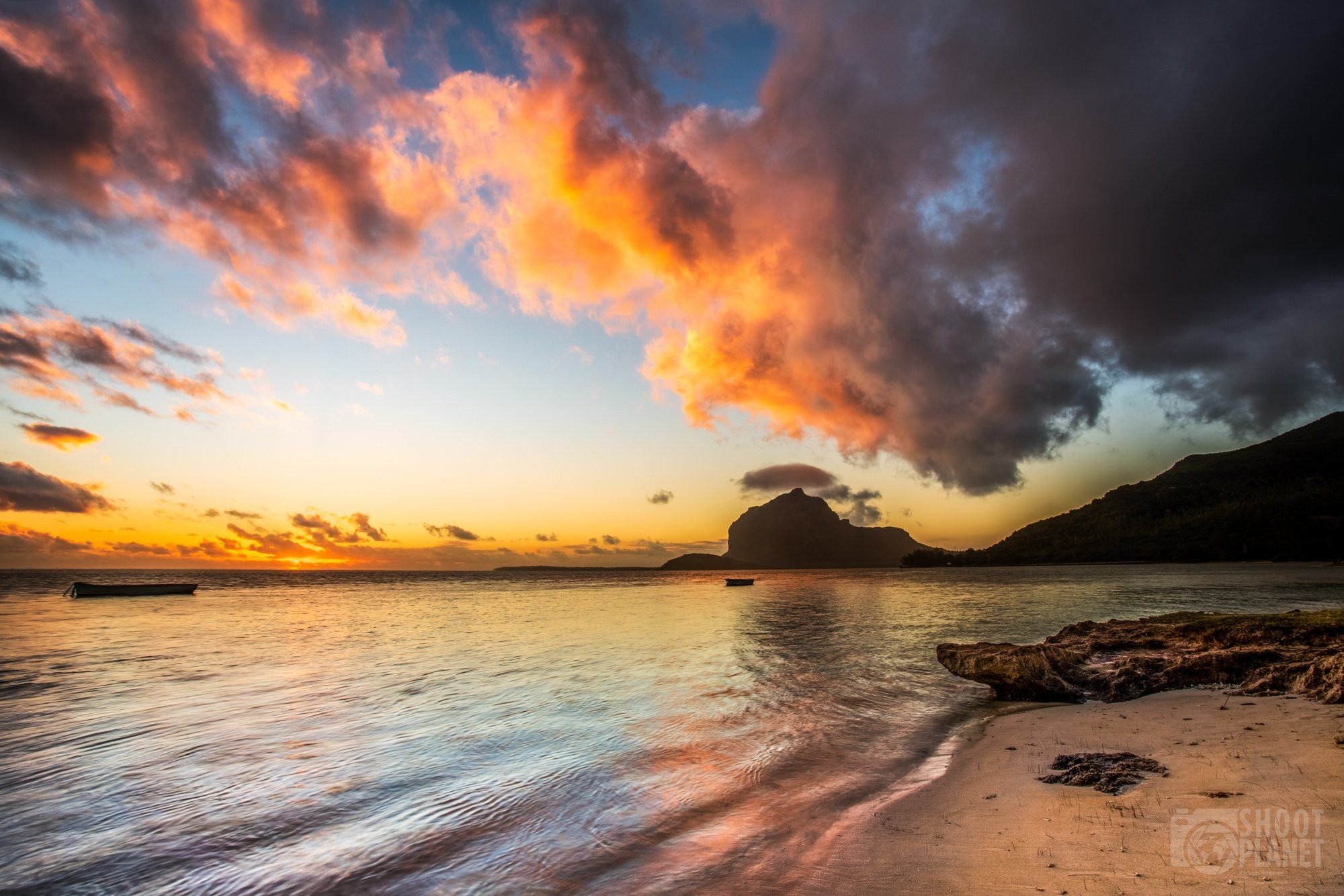 Colorful sunset on Le Morne Brabant, Mauritius
