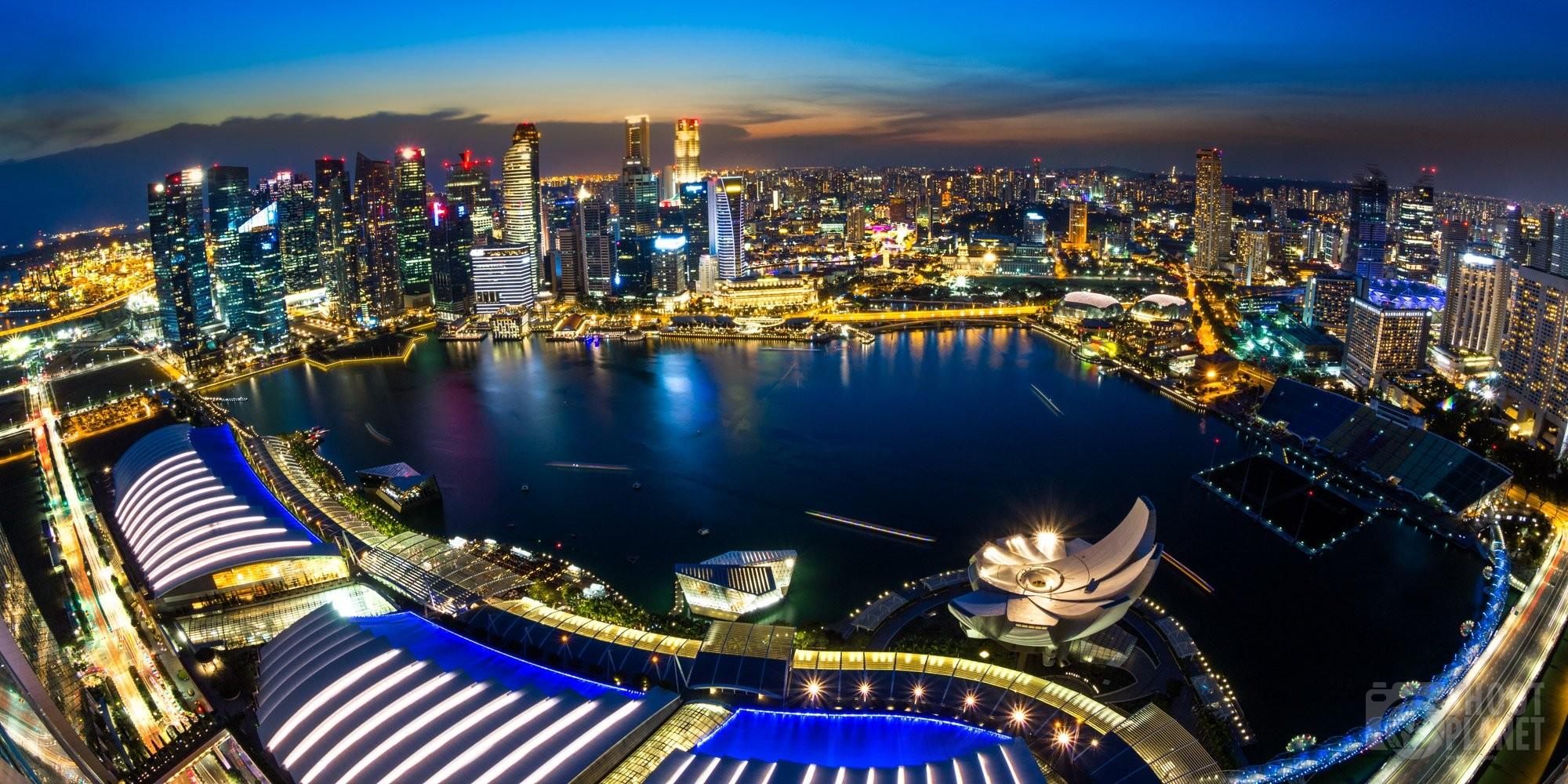 Aerial skyline fisheye colorful sunset Singapore