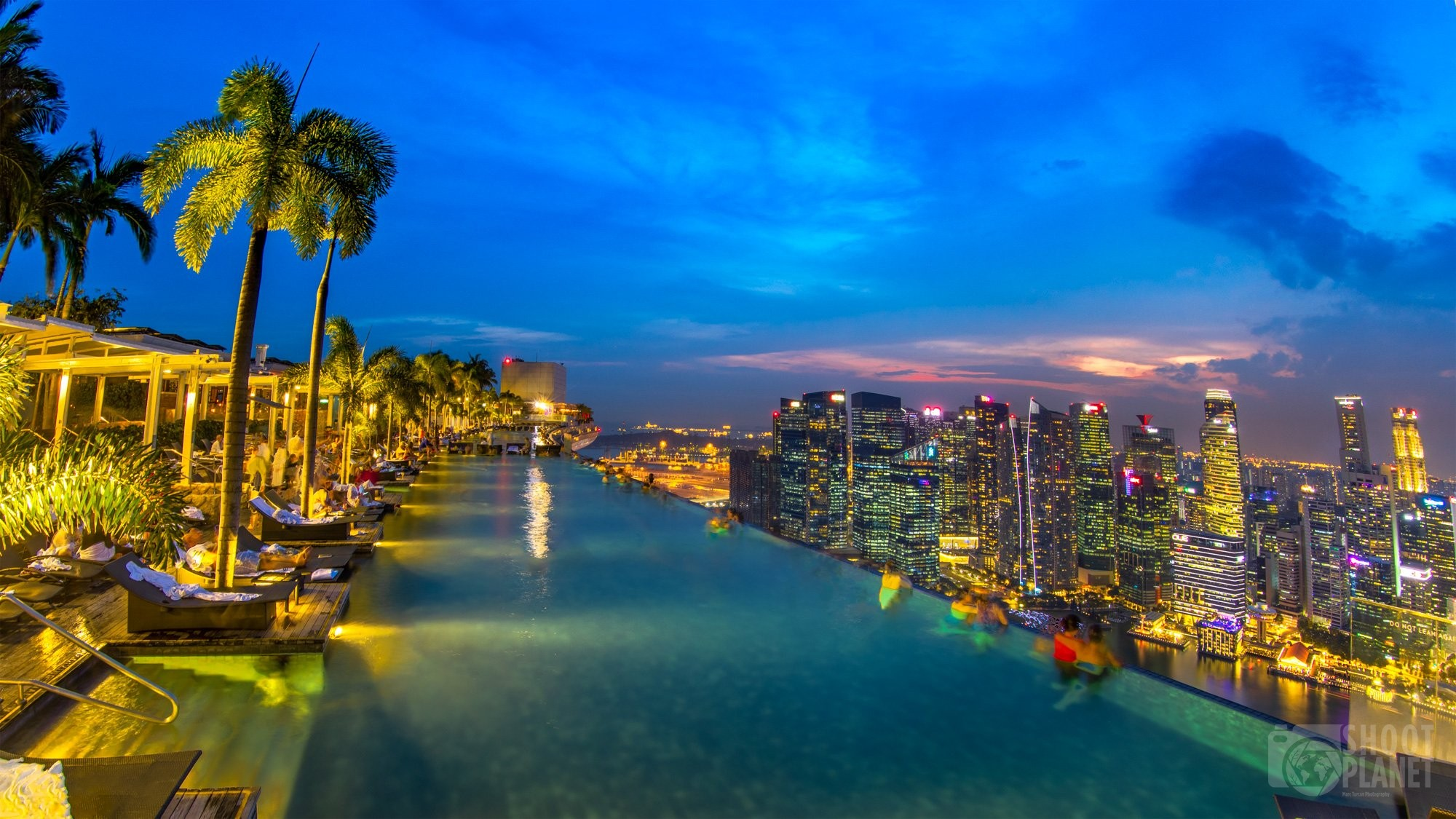 Rooftop pool cityscape sunset, Singapore