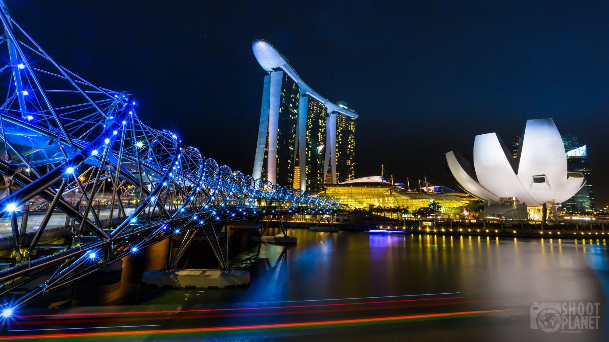 Helix bridge skyline at night, Singapore