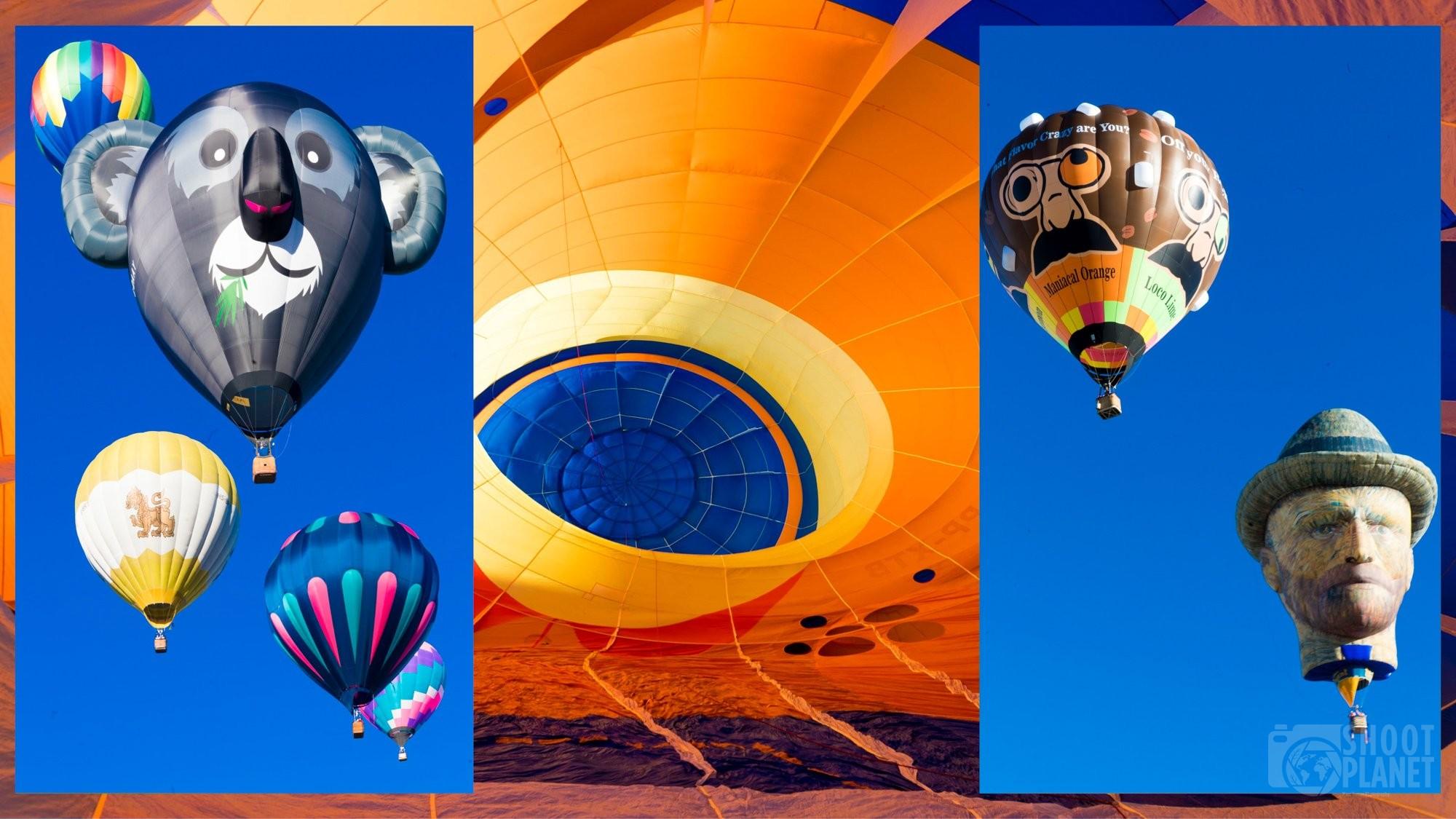 Air balloons collage Albuquerque, USA