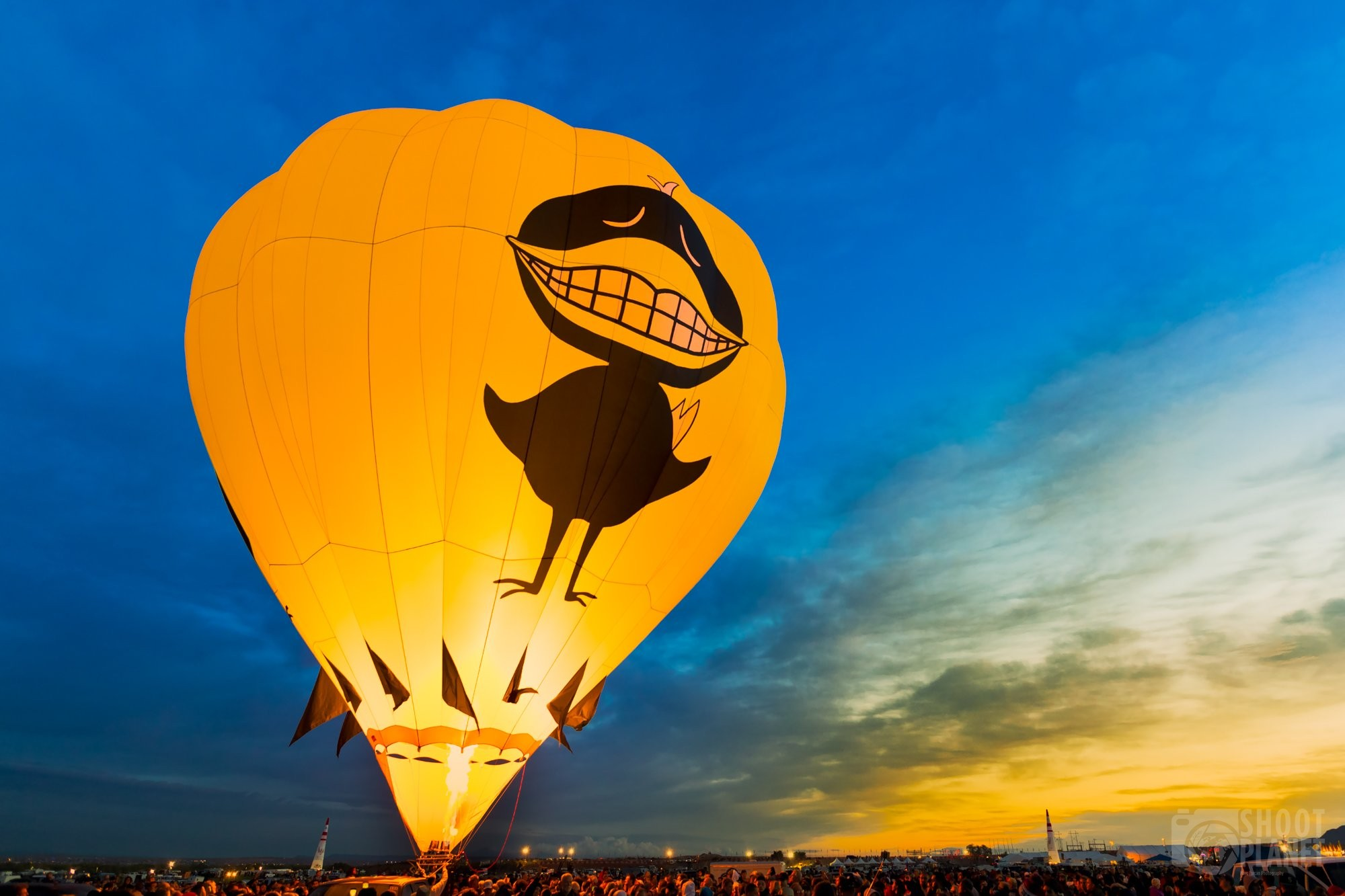 Yellow sunrise and hot air balloon, Albuquerque