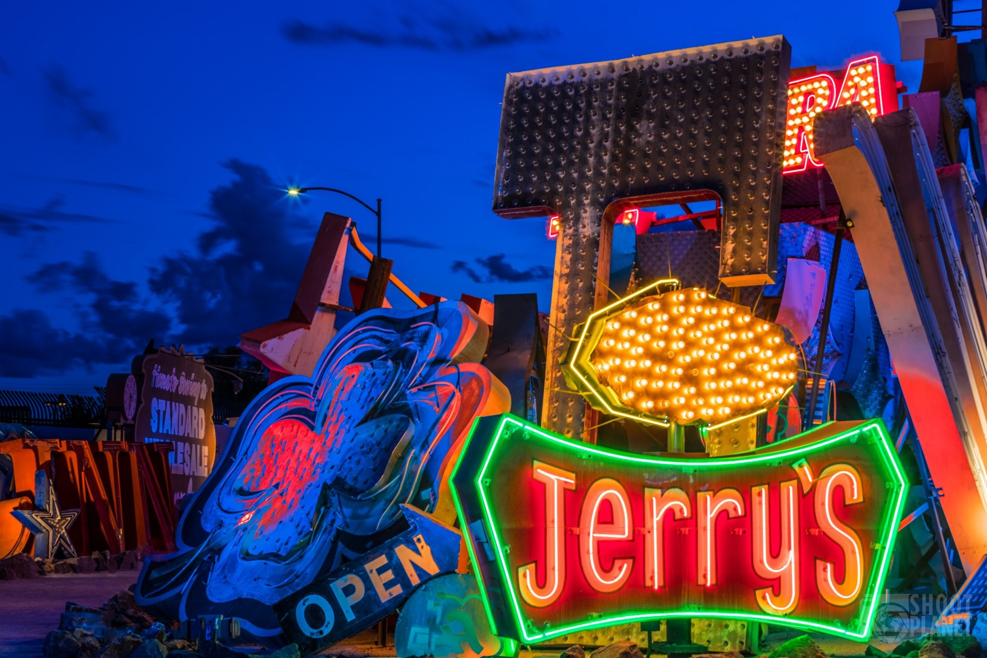 Vintage casino neon signs dusk, Las Vegas