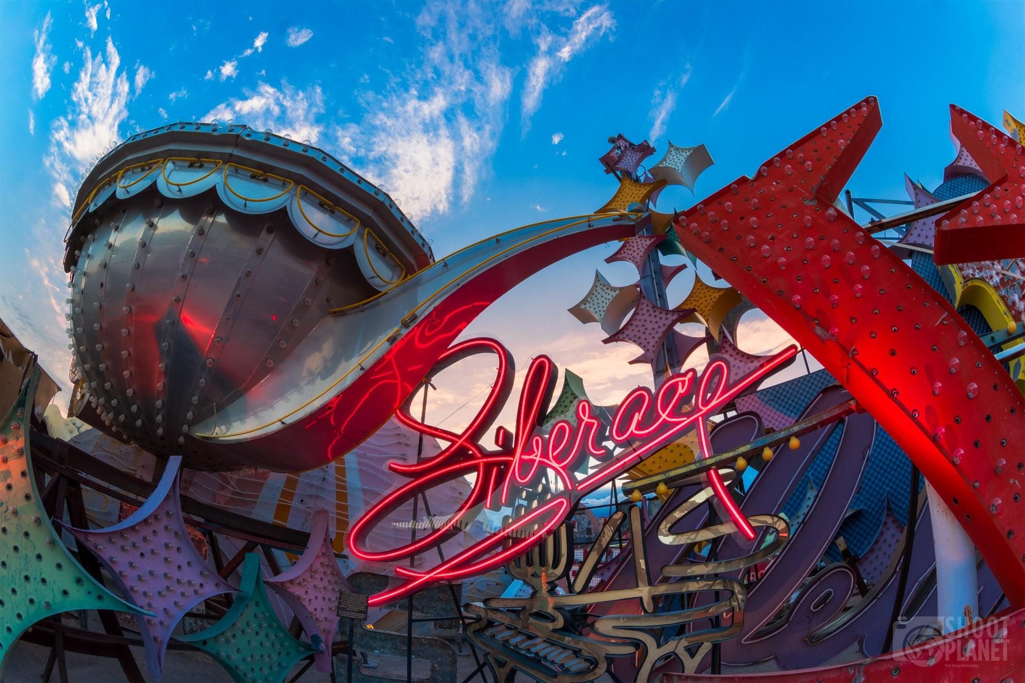 Vintage casino neon sign sunset, Las Vegas