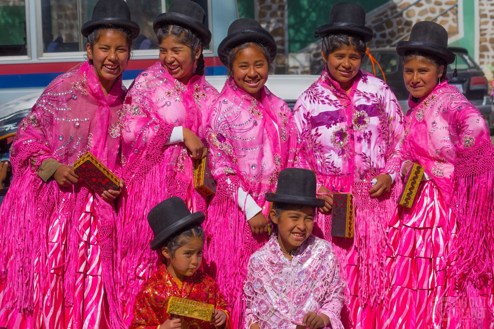 Bolivian Cholas with traditional costumes, Sucre Bolivia