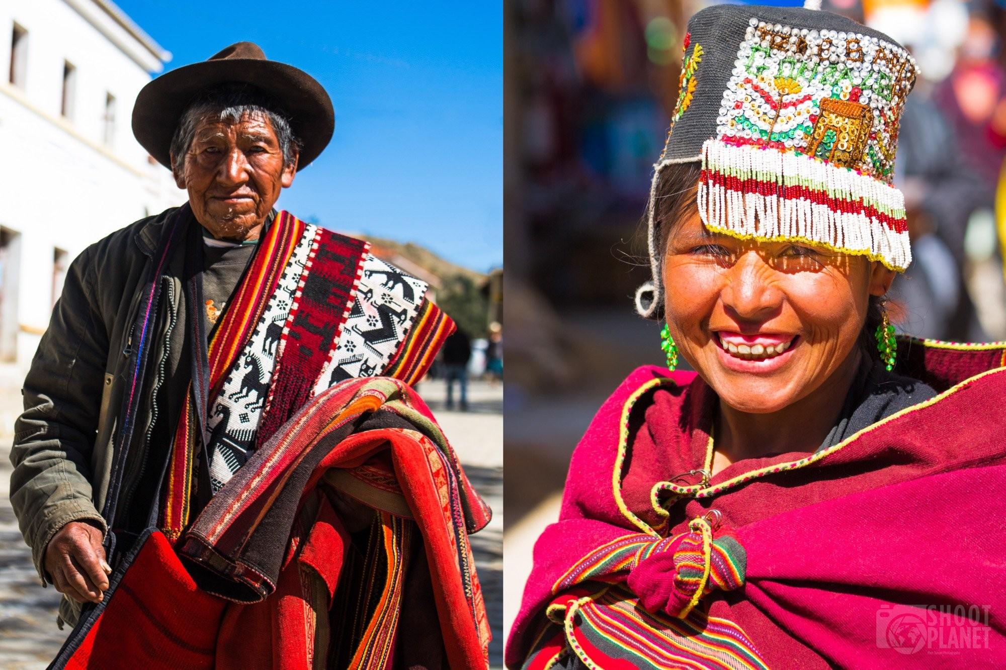 Indigenous people in Tarabuco market, Bolivia