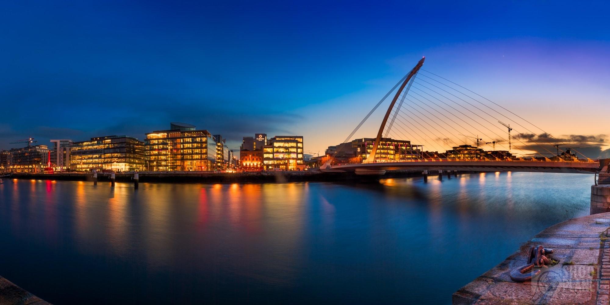 Samuel Becket Bridge skyline sunset, Dublin Ireland