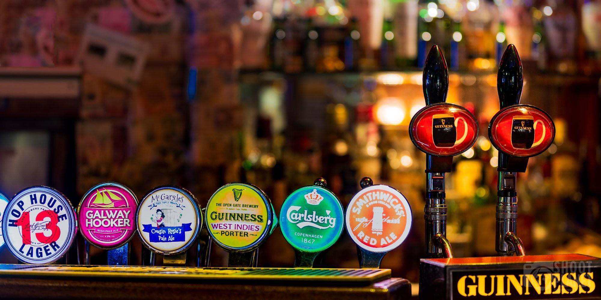 Traditional Dublin Irish pub beer tap, Ireland
