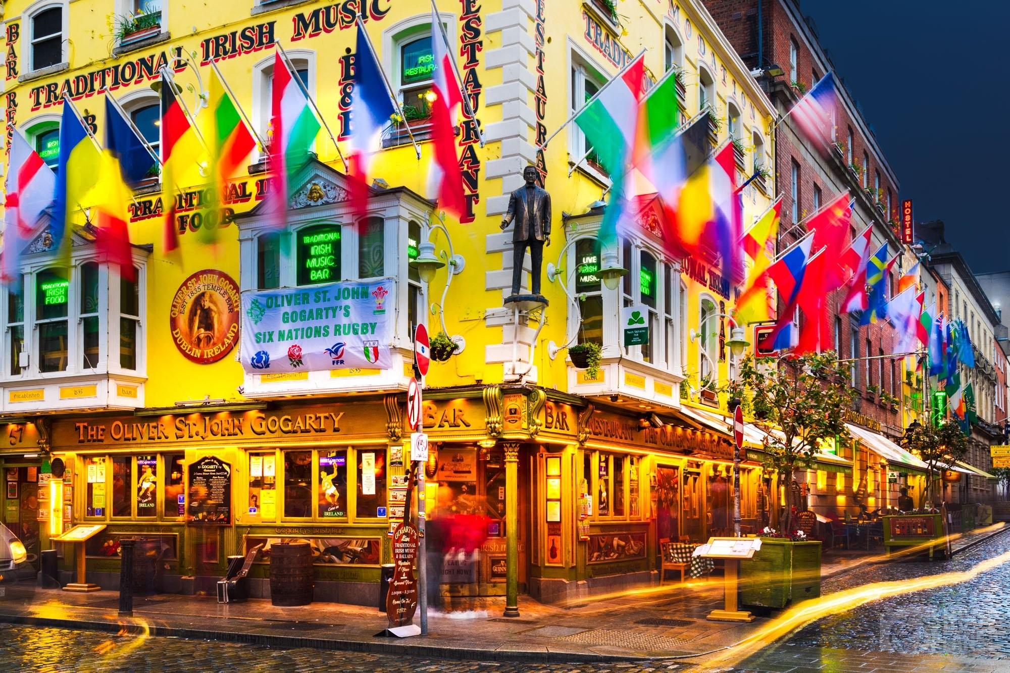 Temple Bar area during twilight, Dublin Ireland