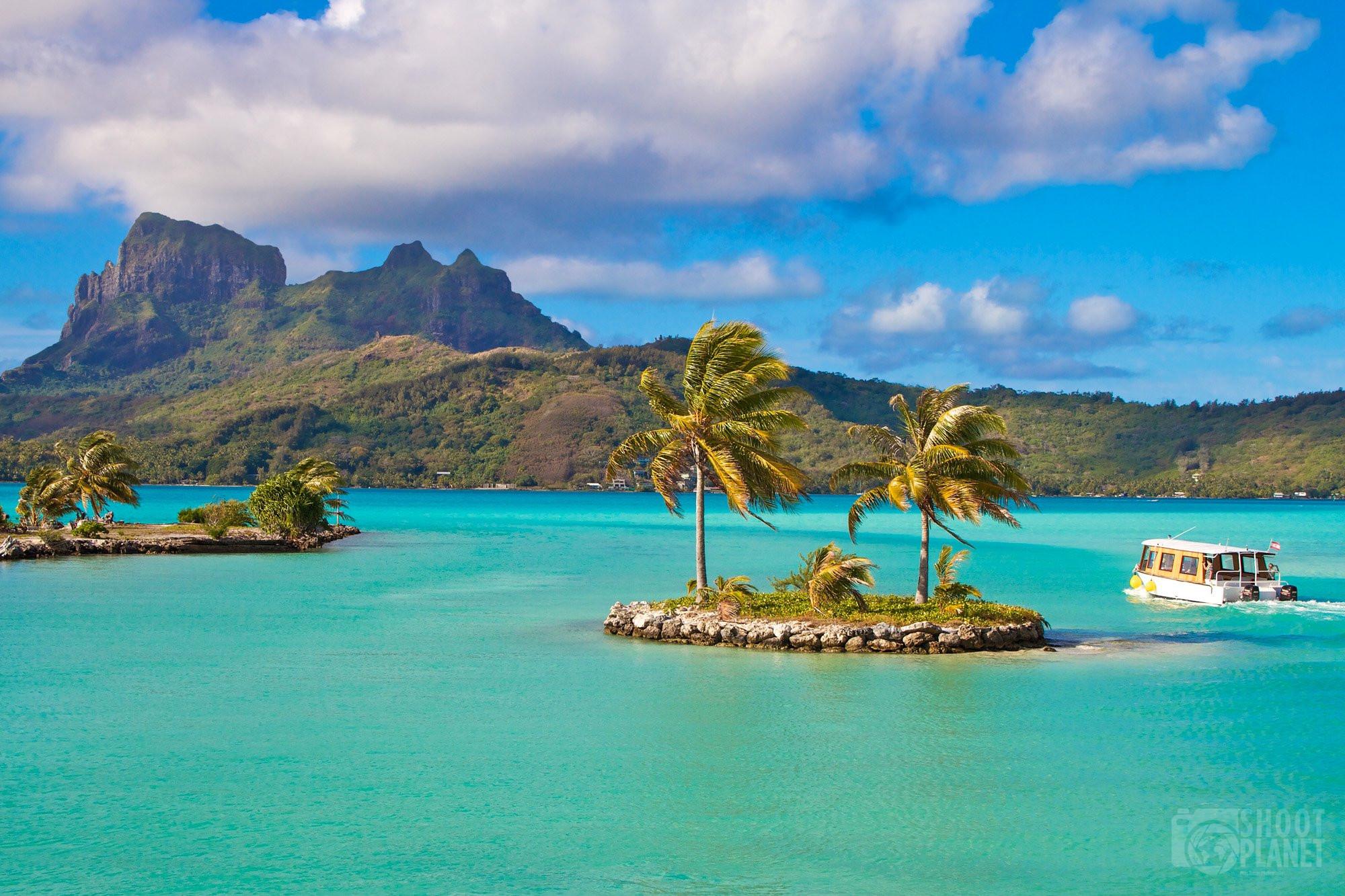 Mount Otemanu over lagoon in Bora Bora Tahiti