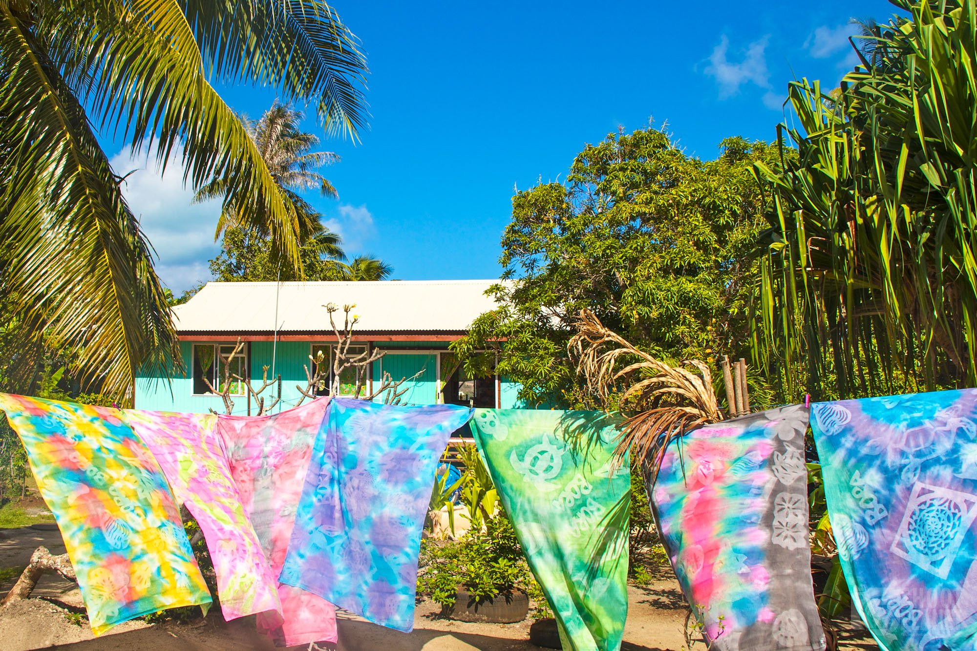 Tahitian shawls blowing in Bora Bora wind